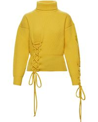 Moncler Genius 1 Moncler Jw Anderson Lace-up Wool-cashmere Jumper - Yellow