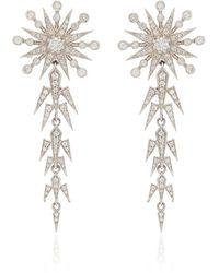 Colette Moon And Star 18k White Gold Pearl, Diamond Earrings