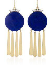 Sylva & Cie - 18k Gold, Lapis And Diamond Earrings - Lyst
