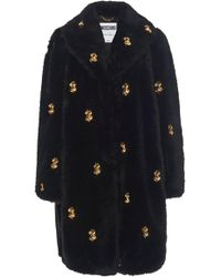 Moschino Currency-embellished Faux Fur Coat - Black
