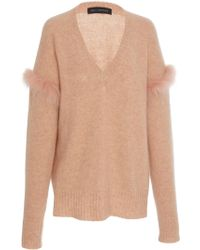 Sally Lapointe - Airy Cashmere Silk Sweater With Fur - Lyst