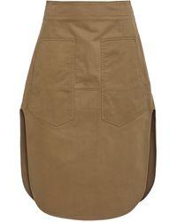 Tibi Myriam Twill Pencil Skirt - Brown