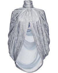 Magda Butrym Medford Scarf-detailed Draped Silk-satin Cape - Blue