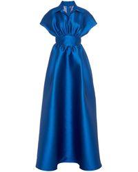 Lela Rose Gathered Duchess Satin Gown - Blue