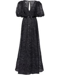 Elizabeth Kennedy Deep-v Neck Flocked Tulle Gown With Puff Sleeves - Black