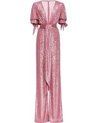 Naeem Khan V-neck Sequin Jumpsuit - Pink
