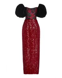 Markarian Marguerite Puff-sleeve Sequined Brocade Dress - Red