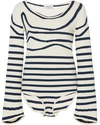 Lanvin Stripe Cotton-blend Knitted Bodysuit - Blue