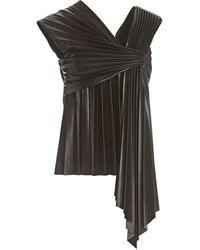 Nanushka Adrie Pleated Faux Leather Top - Black