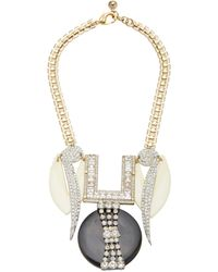 Lulu Frost One-of-a-kind Gold-plated Brass, Crystal And Celluloid Necklace - Black