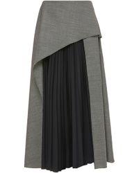 Claudia Li - Pleated Panel Wool Skirt - Lyst
