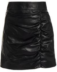 Zeynep Arcay Ruched Leather Mini Skirt - Black