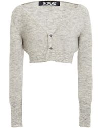 Jacquemus Alzou Cropped Mohair-blend Cardigan - Gray