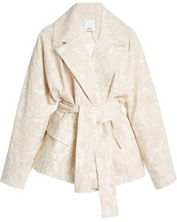 Acler Clifton Belted Cotton-blend Jacquard Jacket - Natural