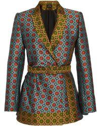 Saloni Maxima Mixed-print Wrap-effect Jacquard Jacket - Blue