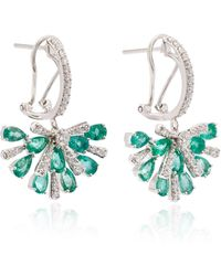 Hueb - Exclusive 18k White Gold, Emerald And Diamond Earrings - Lyst