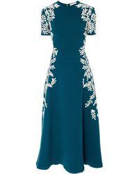 Oscar de la Renta Floral-embroidered Wool-blend Midi Dress - Blue