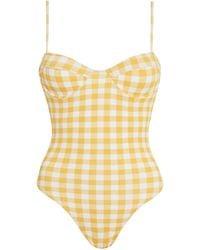 Faithfull The Brand Bea Gingham Print One-piece Swimsuit - Yellow