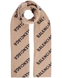 Balenciaga Logo Wool-blend Scarf - Brown