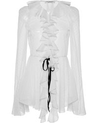 Philosophy Di Lorenzo Serafini Tie-detailed Ruffled Fil Coupé Top - White