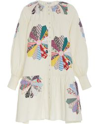 Sea Paloma Patchwork Floral-embroidered Cotton Dress - Multicolour