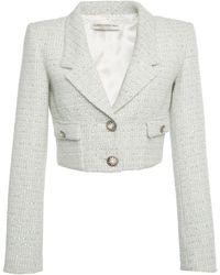 Alessandra Rich Sequined Wool-blend Tweed Cropped Blazer - Green