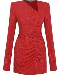 Mach & Mach Sequined Mini Dress - Red