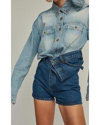 Y. Project Asymmetric Denim Shorts - Blue