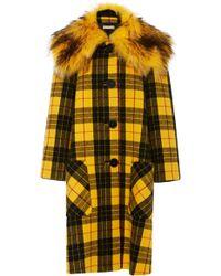 Michael Kors - Tartan Wool-melton And Faux Fur Coat - Lyst