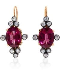 Montse Esteve | 18k Gold, Rhodolite And Diamond Earrings | Lyst