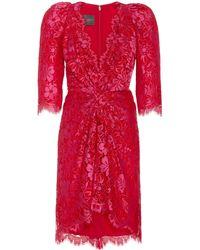 Monique Lhuillier Knotted-front Guipure Lace Mini Dress - Red