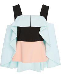 Christian Siriano Cape-overlay Cold-shoulder Blouse - Multicolour