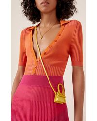 Jacquemus Le Petit Chiquito Patent-leather And Suede Bag - Yellow
