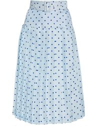 Rodarte Belted Pleated Polka-dot Silk Midi Skirt - Blue