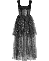Rasario Satin And Sequined Tulle Maxi Dress - Black