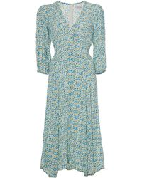 Faithfull The Brand Maud Floral-print Crepe Midi Dress - Blue
