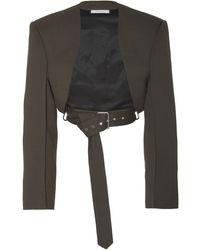 Peter Do Bolero Belted Cropped Crepe Jacket - Gray