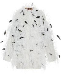 Prabal Gurung Feather Embellished Coat - White