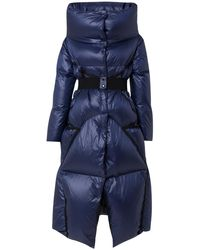 2f9199e36 Oversized Belted Shell Hooded Puffer Coat - Blue