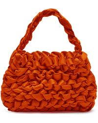 Miista Theodore Knotted Satin Top Handle Bag - Red