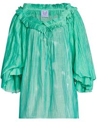 Thierry Colson Roussia Pleated Cotton-silk Top - Green