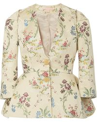 Brock Collection Floral-jacquard Peplum Jacket - Multicolor