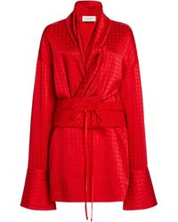 Hellessy Jana Paisley Satin Jacquard Belted Mini Dress - Red