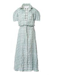 Leal Daccarett Malaquita Patterned Silk Shirt Dress - Green