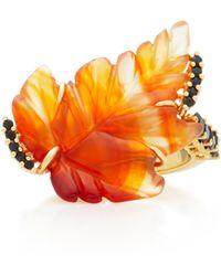Joana Salazar - Single Leaf 18k Gold And Carnelian Ring - Lyst