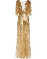 Monique Lhuillier Sequin-embellished Gown - Metallic