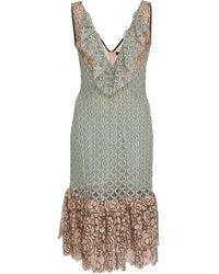 Frederick Anderson - V Neckline Lace Ruffle Dress - Lyst