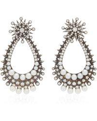 Colette Perseus Convertible 18k Black Gold Diamond, Pearl Earrings