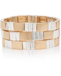 Roxanne Assoulin Set-of-three Higher Standards Zinc And Elastic Bracelets - Metallic