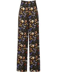 The Vampire's Wife The Penitent Floral Silk Wide-leg Pants - Black